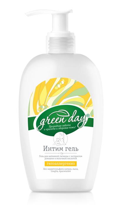 Greenday Гель для интимной гигиены, 250 мл870450Мягкая гиппоаллергенная формула содержит натуральную молочную кислоту для поддержания естественной микрофлоры интимной зоны, пантенол, аллантоин и экстракт ромашки, которые обладают активным заживляющим, противовоспалительным и увлажняющим действием, способствуют обновлению клеток.