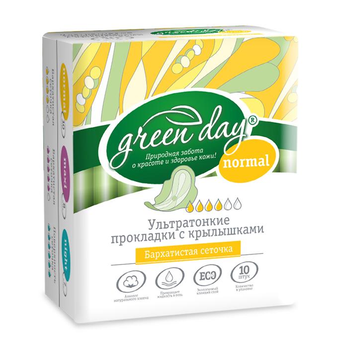 Greenday Прокладки женские Ultra Normal Dry, 10 шт870466Удлиненные ультратонкие прокладки созданы для максимального комфорта. Слой-сеточка всегда оставляет поверхность сухой. Аналог натурального хлопка. Превращает жидкость в гель. Экологичный клеящий слой.