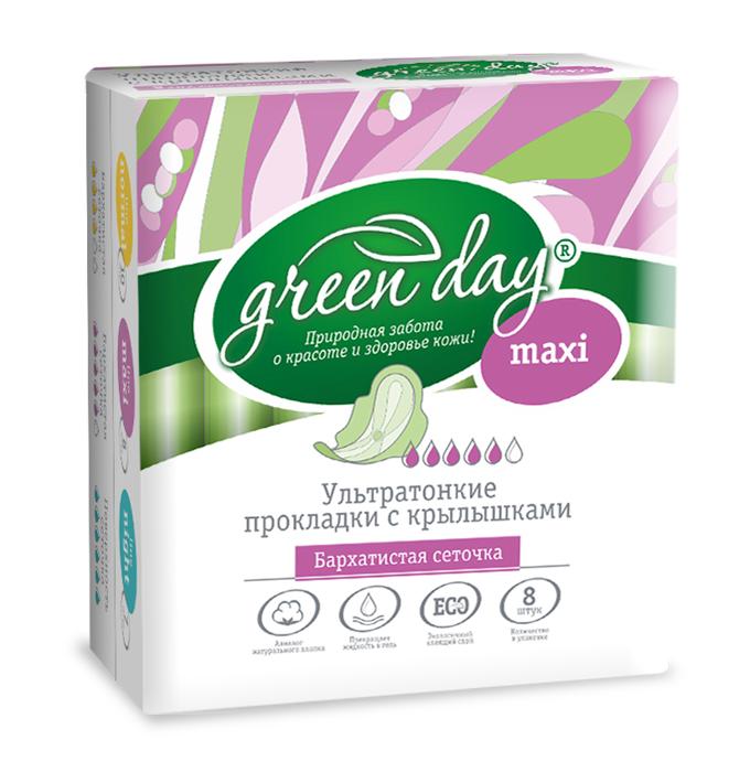 Greenday Прокладки женские Ultra Maxi Dry, 8 шт870467Удлиненные ультратонкие прокладки созданы для максимального комфорта. Слой-сеточка всегда оставляет поверхность сухой. Аналог натурального хлопка. Превращает жидкость в гель. Экологичный клеящий слой.