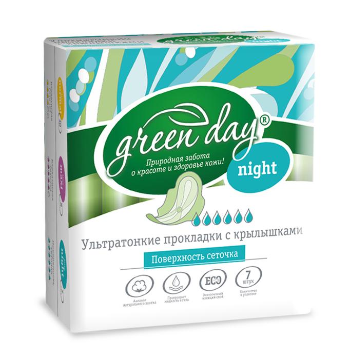Greenday Прокладки женские Ultra Night Dry, 7 шт870471Удлиненные ультратонкие прокладки созданы для максимального комфорта. Слой-сеточка всегда оставляет поверхность сухой. Аналог натурального хлопка. Превращает жидкость в гель. Экологичный клеящий слой.