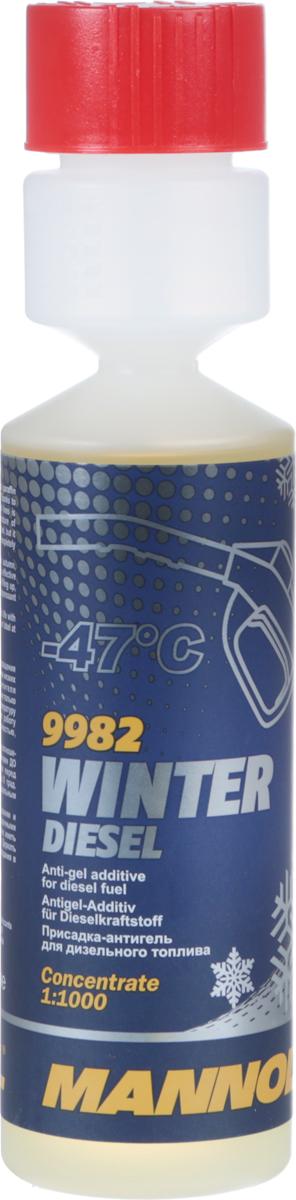 Присадка-антигель для дизельного топлива MANNOL Winter Diesel, зимний, 250 мл2127Присадка для предотвращения образования кристаллов парафина в дизельном топливе при низких температурах. Благодаря депрессорному действию антигеля предотвращается забивка фильтров и топливопроводов. Антигель не только снижает предельную температуру фильтруемости (до -36 °C) и температуру застывания (до -47 °C) дизельного топлива, но и оптимизирует работу топливной системы при низких температурах. Сгорает полностью, без образования зольных отложений.Рекомендуется применять при каждой заправке, начиная с осени, в соотношении 1:1000 (250 мл антигеля на 250 л топлива). Препарат эффективен до момента загустевания топлива. Добавляется непосредственно перед заправкой в топливо, имеющее температуру равную или свыше 0 °C. Депрессорное действие препарата проявляется только в смеси с дизельным топливом.