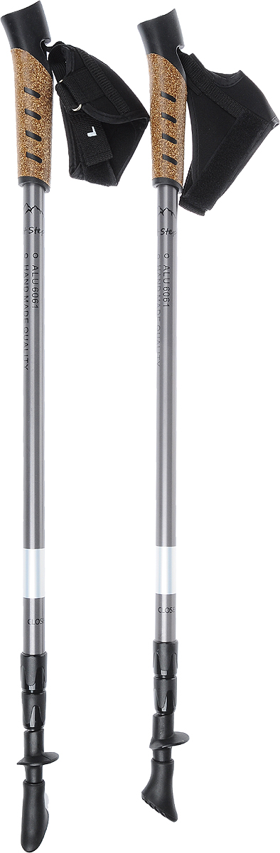 Палки для скандинавской ходьбы  Light Step , телескопические, 3 секции, цвет: темно-серый, черный, 67-140 см, 2 шт - Скандинавская ходьба