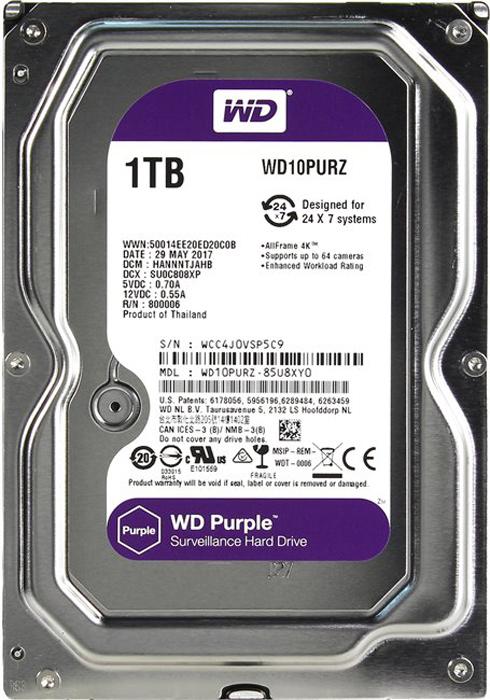 WD Purple 1TB внутренний жесткий диск (WD10PURZ)1212557Жесткие диски WD Purple специально разработаны для круглосуточной эксплуатации в системах видео наблюдения высокой четкости. Диски WD Purple поддерживают использование до восьми жестких дисков и до 32 камер, то есть они действительно оптимизированы для видеонаблюдения. В накопителях для жестких дисков WD Purple также реализована уникальная технология WD AIIFrame, благодаря которой вы можете уверенно создать систему обеспечения безопасности, полностью соответствующую потребностям вашего бизнеса. Благодаря технологии AIIFrame диски WD Purple улучшают потоковую передачу АТА для сокращения количества ошибок, вызывающих распад изображения и перебои в записи, которые могут возникать в системах видеонаблюдения.WD - мировой лидер в производстве жестких дисков. Жесткие диски WD Purple специально разработаны для круглосуточной работы при высоких температурах в системах круглосуточного видеонаблюдения, так что они обеспечивают надежное и качественное воспроизведение видео в самый нужный момент. Независимо от того, нужно ли вам защитить жизнь своих любимых людей или контролировать свое предприятие WD Purple обеспечивают производительность, которой вы можете доверять.Жесткие диски WD Purple производятся с учетом необходимости обеспечить их совместимость с другим оборудованием, так что вы сможете быстро и просто расширять емкость своей системы видеонаблюдения. Благодаря поддержке большого количества лучших в отрасли корпусов и микросхем, вы обязательно найдете ту конфигурацию цифрового видеорегистратора, которая станет идеальной для вас.