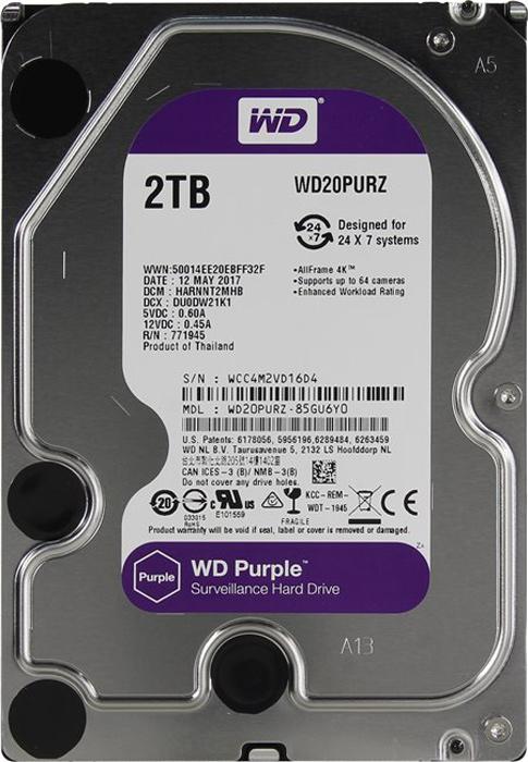 WD Purple 2TB внутренний жесткий диск (WD20PURZ)1212558;1212558