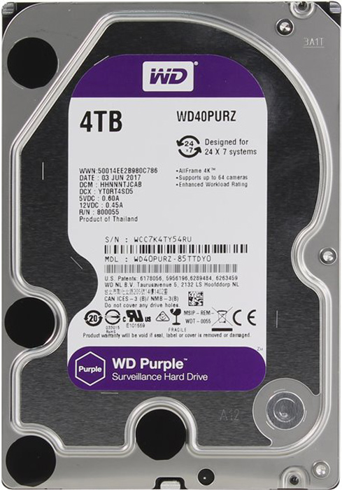 WD Purple 4TB внутренний жесткий диск (WD40PURZ)1212545