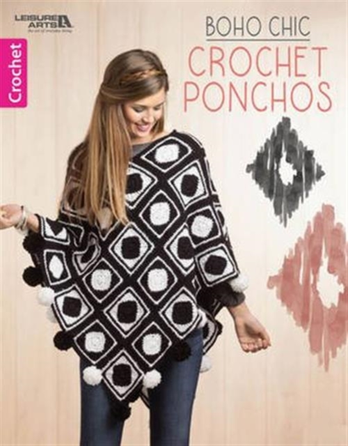 Boho Chic Crochet Ponchos mesh and knot fringe trim check sweater