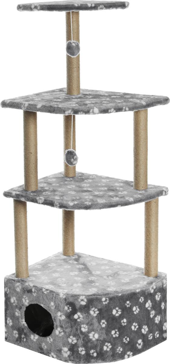 Домик-когтеточка Меридиан Лапки, угловой, 4-ярусный, 55 х 48 х 158 смД432ЛаИгровой комплекс для кошек Меридиан выполнен из высококачественного ДВП и ДСП и обтянут искусственным мехом. Изделие предназначено для кошек. Комплекс имеет 4 яруса. Ваш домашний питомец будет с удовольствием точить когти о специальные столбики, изготовленные из джута. А отдохнуть он сможет либо на полках, либо в расположенном внизу домике.Общий размер: 55 х 48 х 158 см.