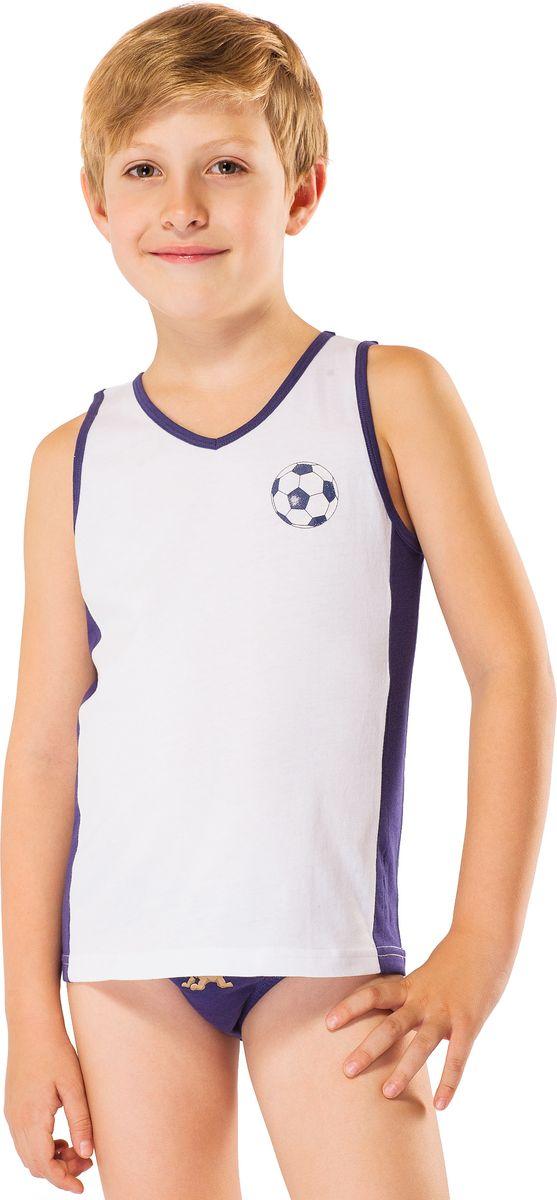 Майка для мальчика Lowry, цвет: белый. BM-317. Размер XL (134/140) плавки мужские lowry цвет черный фиолетовый msb 1 размер l 48