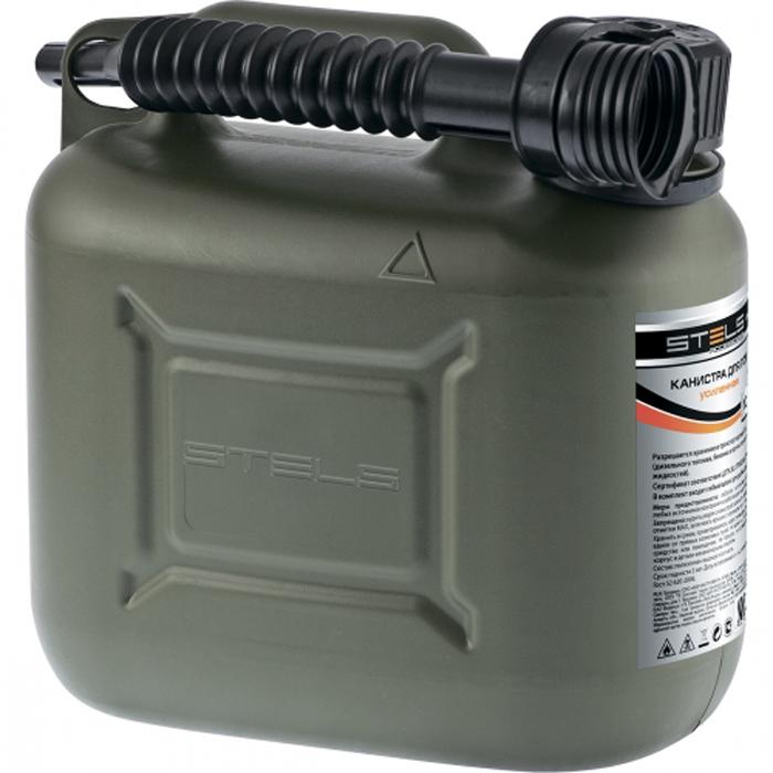 Канистра для ГСМ Stels, вертикальная, усиленная, цвет: темно-зеленый, 5 л канистра для топлива dollex с носиком 10 л