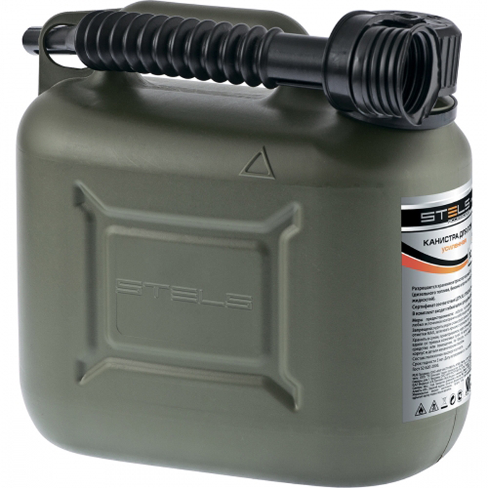 Канистра для ГСМ Stels, вертикальная, усиленная, цвет: темно-зеленый, 20 л канистра пластиковая phantom для гсм 5 л