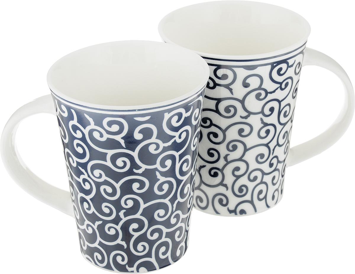 Набор кружек Elan Gallery Пейсли, цвет: белый, темно-синий, 320 мл, 2 шт кружки elan gallery набор кружек цветы белые капучино