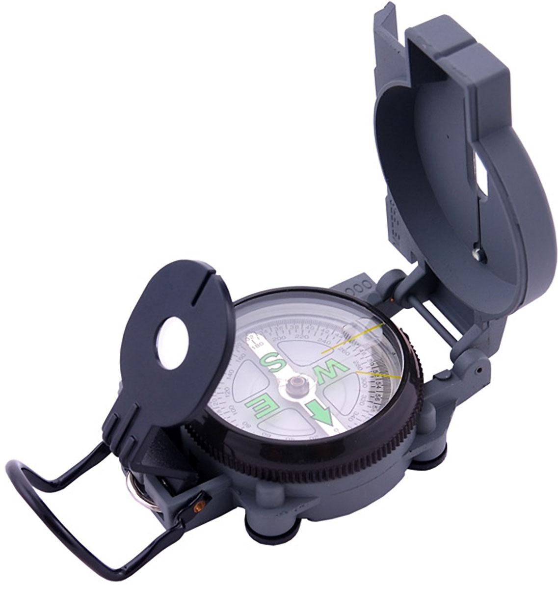 Компас AceCamp Армейский, цвет: темно-серый. 31033103Компас Армейский Military Compass от AceCamp. Армейский компас с жидкостным наполнением в металлическом корпусе - оптимальный вариант для эксплуатации в суровых условиях. Функции компаса: компас складной (имеется крышка и основа). Защитная крышка снабжена: линейкой (измерительной шкалой для карты), прицельной нитью, прицельными светонакопительными точками. Основа снабжена: линейкой (измерительной шкалой для карты) , кольцом оправы с направляющими светонакопитльными полосками и увеличительным стеклом на визоре, плавающим циферблатом, магнитной стрелкой сосветонакопительным элементом. Основа компаса имеет задний прицел, с прицельной щелью и линзой. А так же скобу для закрытия конструкции и отдельную скобу подвешивания компаса на снаряжение или темляк. Размеры: 80 х 60 мм. Вес: 100 г.