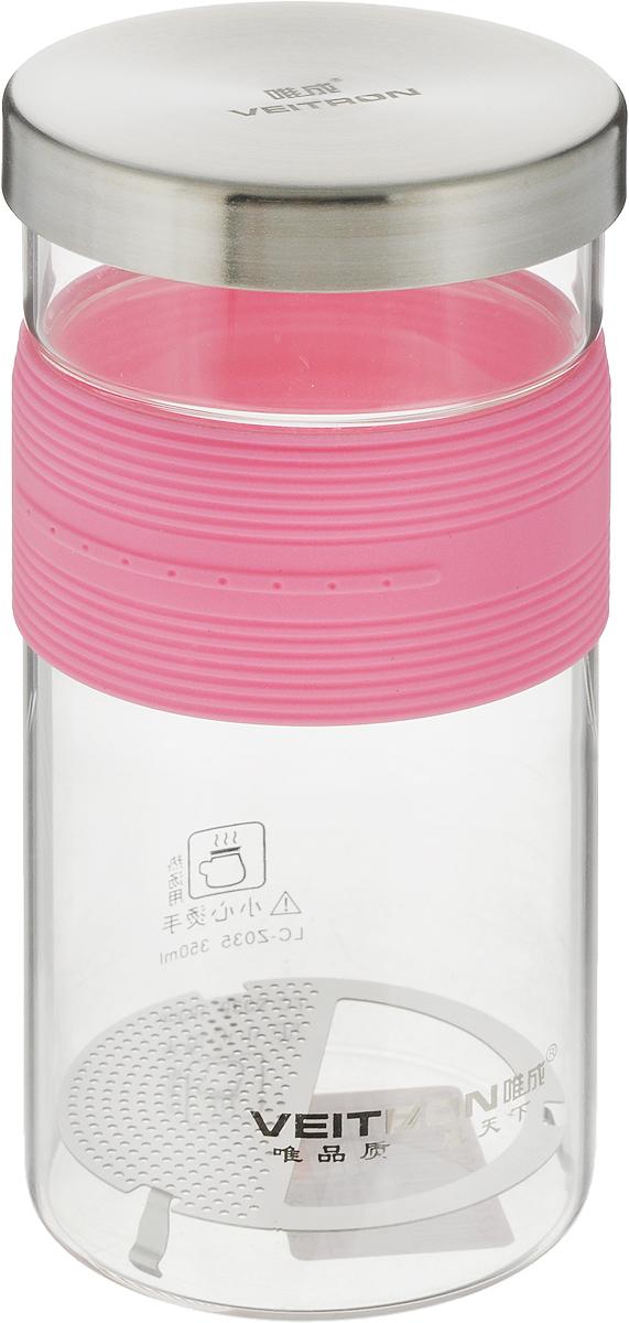 Кружка заварочная Veitron, высокая, с фильтром и крышкой, цвет: розовый, 350 мл16177_белый, серыйСтильный прямой стакан с резиновым рукавом и съемной крышкой. Крышку можно использовать как подставку. Внутри частое ситечко, которое вынимается для мытья.