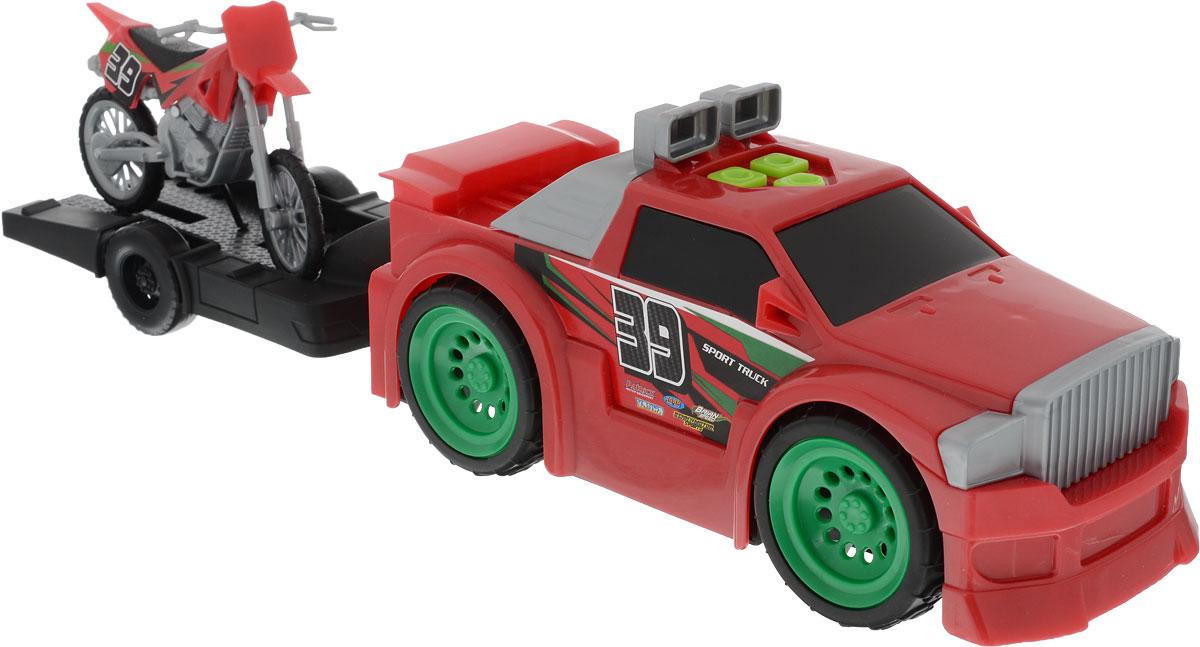 Toystate Машина с мотоциклом/квадроциклом на прицепе цвет красный toystate машина спецслужба цвет белый