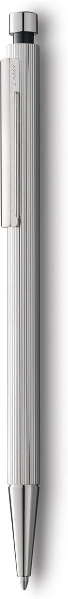 Элегантная модель от дизайнера Герда А. Мюллера – создателя знаменитой ручки Lamy 2000. Тонкий цилиндрический корпус обработан в ювелирной технике гильош с люксовым платиновым покрытием.  Полированные поверхности хвата и клипа создают интересный оптический контраст с бороздчатой структурой корпуса. Шариковая ручка используется со стрежнями большого объема Lamy M16. Комплектация: подарочный футляр, гарантийная карточка, буклет. Дизайн: Герд А. Мюллер История бренда Lamy насчитывает более 80-ти лет, а его философия заключается в слогане Дизайн. Сделано в Германии. Компания получила более 100 самых престижных дизайнерских наград. Все пишущие инструменты Lamy производятся на фабрике в Гейдельберге (Германия).