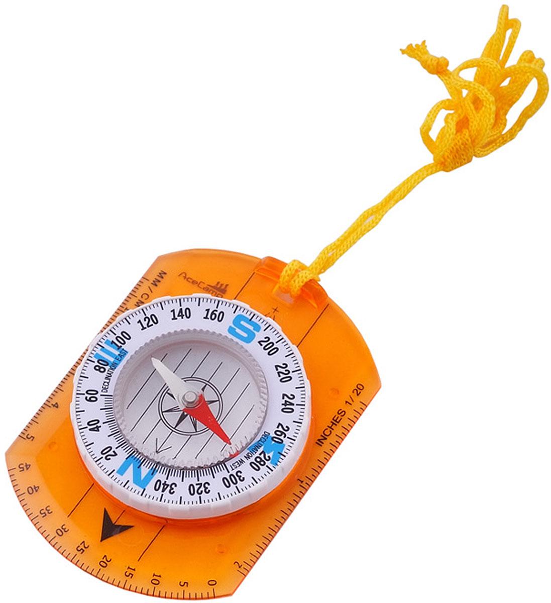 Компас AceCamp картографический, цвет: оранжевый. 31103110Компас классический картографический Classic Map Compass от AceCamp. Функции компаса: Линейка (измерение в сантиметрах и дюймах. Точка отметки азимута. Направляющая линия. Магнитная стрелка со светонакопительным элементом. Круговая шкала. Так же в комплекте удобная веревочка для ношения на шее. Размеры: 90 х 65 мм. Вес: 32 г.
