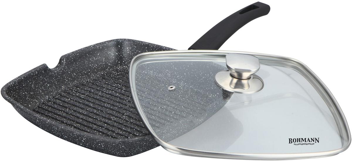 Сковорода-гриль Bohmann, с крышкой, с мраморным покрытием, цвет: черный, 24 х 24 см. 1002-24BHMRB1002-24BHMRBАлюминиевая сковорода-гриль. Мраморное антипригарное покрытие. можно жарить или обжаривать с небольшим количеством масла. Подходит для всех типов бытовых плит.