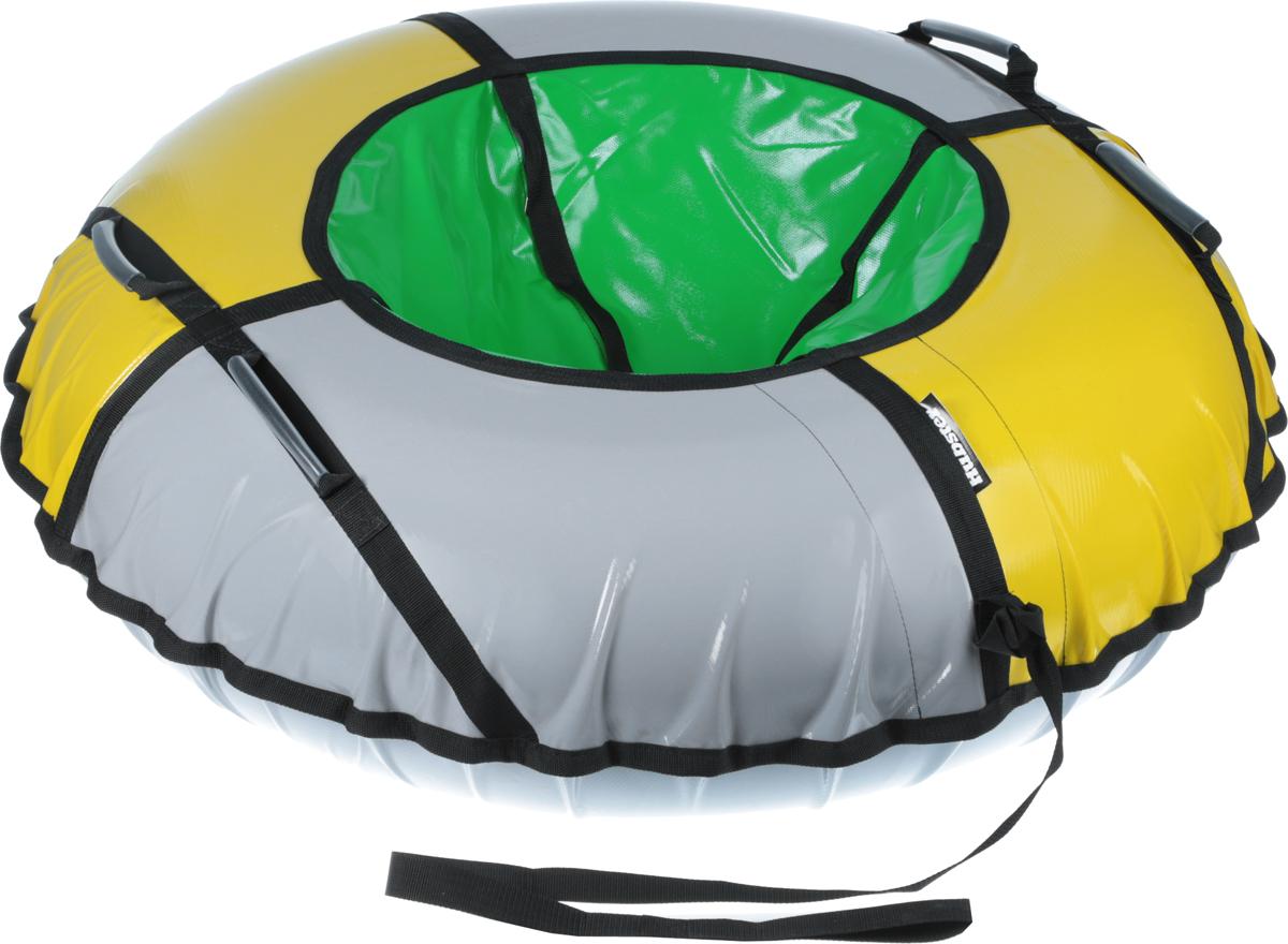 Тюбинг Hubster Sport Plus, цвет: серый, желтый, зеленый, диаметр 120 смво4328-2_серый,желтый,зеленыйЛюбимая детская зимняя забава - это кататься с горки. А катание на тюбинге надолго запомнится вам и вашим близким. Свежий воздух, веселая компания, веселые развлечения - эти моменты вы будете вспоминать еще долгое время. Материал верха - ПВХ армированный, плотность 650 г/м .Материал дна - ПВХ (усиленная скользкая ткань), плотность 650 г/м.Диаметр в сдутом виде -120 см.Диаметр в надутом виде - 109 см.Ручки усиленные (нашиты на дополнительную стропу)Кол-во ручек - 4 шт. Молния скрытая, на сиденье.Крепление троса - наружная петля.Длина троса - 1 метр.Нагрузка -до 150 кг.Комплект поставки - ватрушка, трос, камера. Тюбинг не предназначен для буксировки механическими или транспортными средствами (подъемники, канатные дороги, лебедки, автомобиль, снегоход, квадроцикл и т.д.)