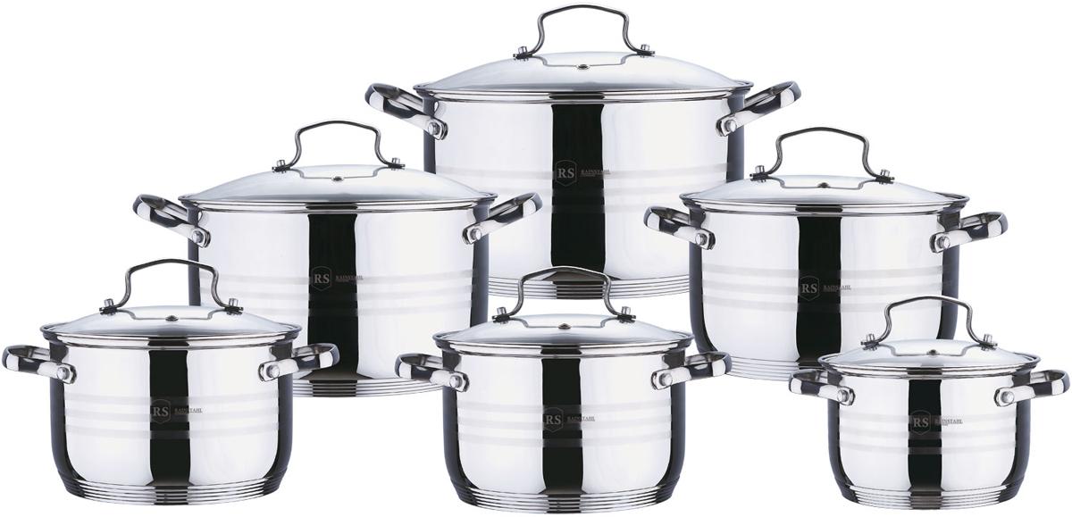 Набор посуды Rainstahl, цвет: стальной, 12 предметов. 1227-12RS/CW аквариум с крышкой акваэль элит f фигурный с крышкой 115 л 80х35х43 см