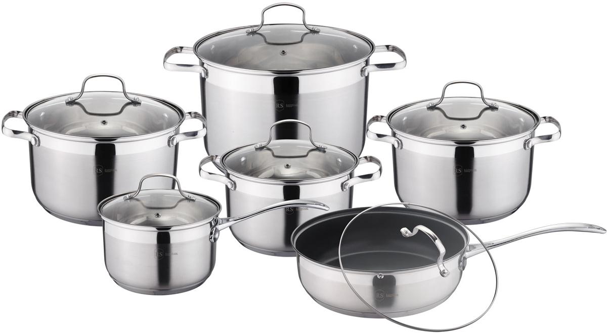 Набор посуды Rainstahl, цвет: стальной, 12 предметов. 1222-12RS/CW аквариум с крышкой акваэль элит f фигурный с крышкой 115 л 80х35х43 см