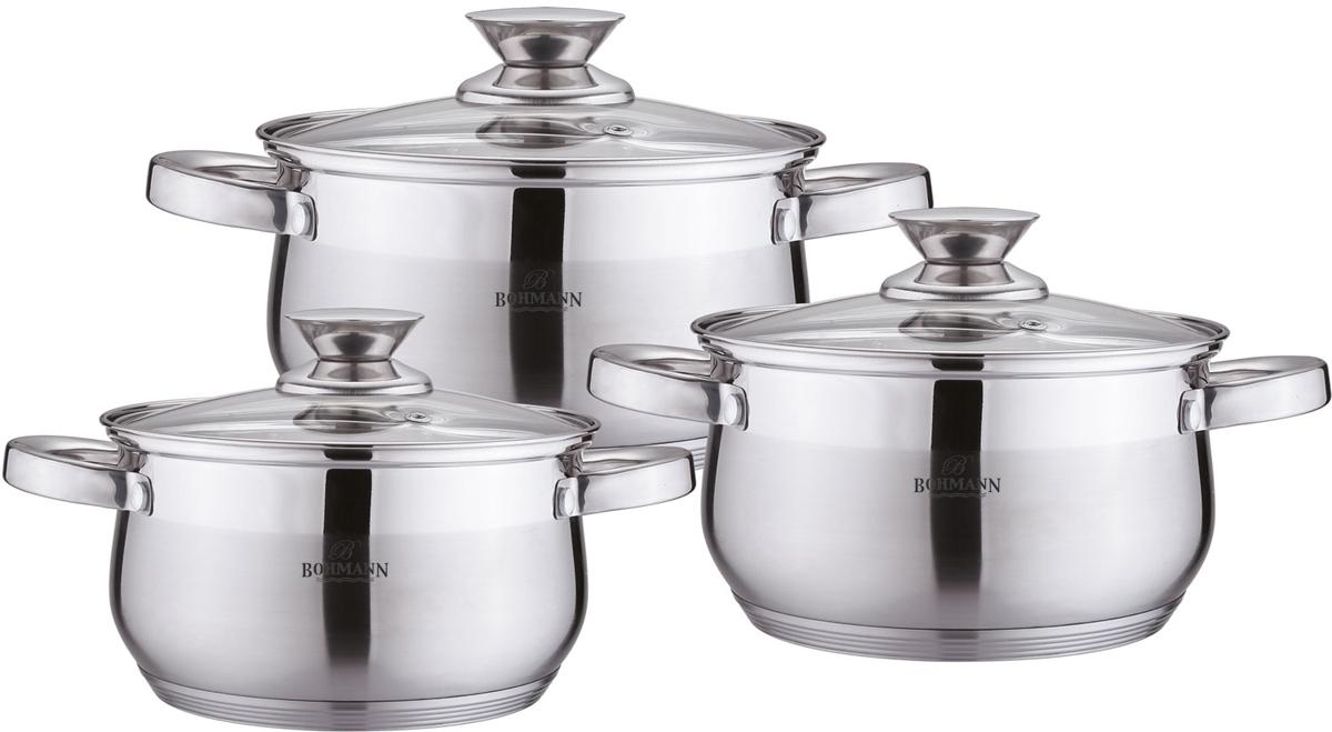 Набор посуды Bohmann, цвет: стальной, 6 предметов. 0526BH0526BHНабор посуды 6 предметов Капсульное дно. Стальные ручки Стеклянная крышка. Размеры: 18х10.5см - 2.6л; 20х11.5см - 3.6л; 22х12,5см - 4.7л. Подходит для индукции.