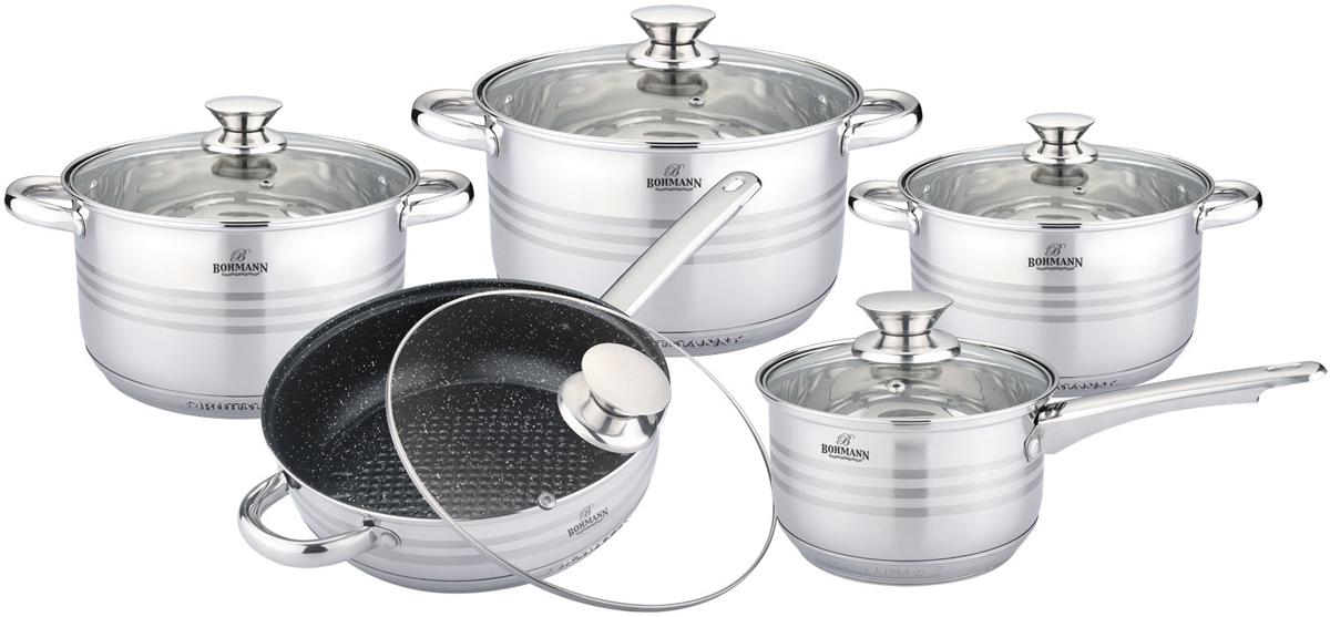 Набор посуды Bohmann, цвет: стальной, 10 предметов. 0910BHMRB кастрюля пароварка bohmann с крышкой 4 уровневая 2 5 л
