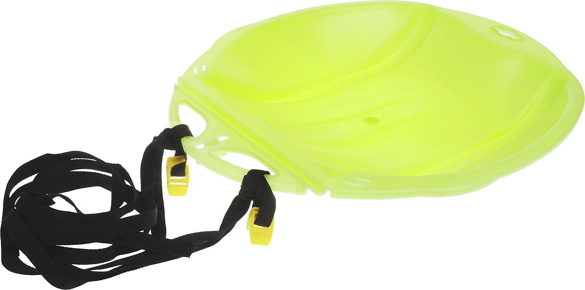 Санки-ледянки Цикл Веселый паровозик, с ремнем, цвет: желтый, 49 х 42 см336903Любимая детская зимняя забава - это катание с горки. Яркие санки-ледянки Цикл Веселый паровозик станут незаменимым атрибутом этой веселой детской игры. Санки-ледянки - это специальная пластиковая тарелка, облегчающая скольжение и увеличивающая скорость движения по горке. Ледянка выполнена из прочного гибкого пластика и снабжена текстильной ручкой для транспортировки. Конфигурация санок позволяет удобно сидеть и развивать лучшую скорость. Благодаря малому весу ледянку, в отличие от обычных санок, легко нести с собой даже ребенку.