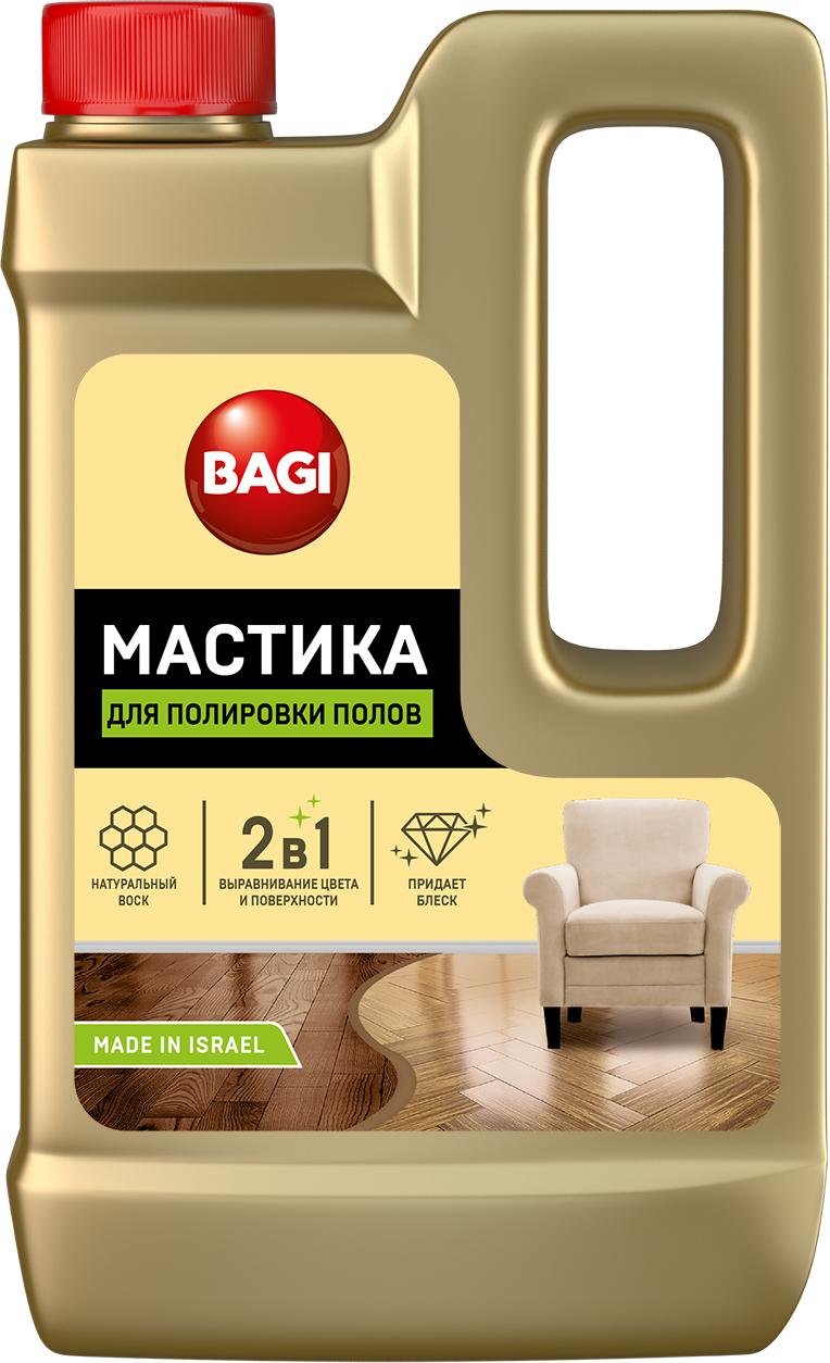 """Средство Bagi """"Мастика"""" с натуральным воском предназначено   для паркетных, ламинированных и деревянных полов. Придает   блеск на долгое время. Оригинальный состав средства   базируется на специально разработанной формуле для   создания прозрачной защитной пленки на поверхности пола   без дополнительной полировки. Оставляет приятный запах.     Товар сертифицирован.   Уважаемые клиенты!  Обращаем ваше внимание на то, что   упаковка может иметь несколько видов дизайна. Поставка   осуществляется в зависимости от наличия на складе.      Как выбрать качественную бытовую химию, безопасную для природы и людей. Статья OZON Гид"""