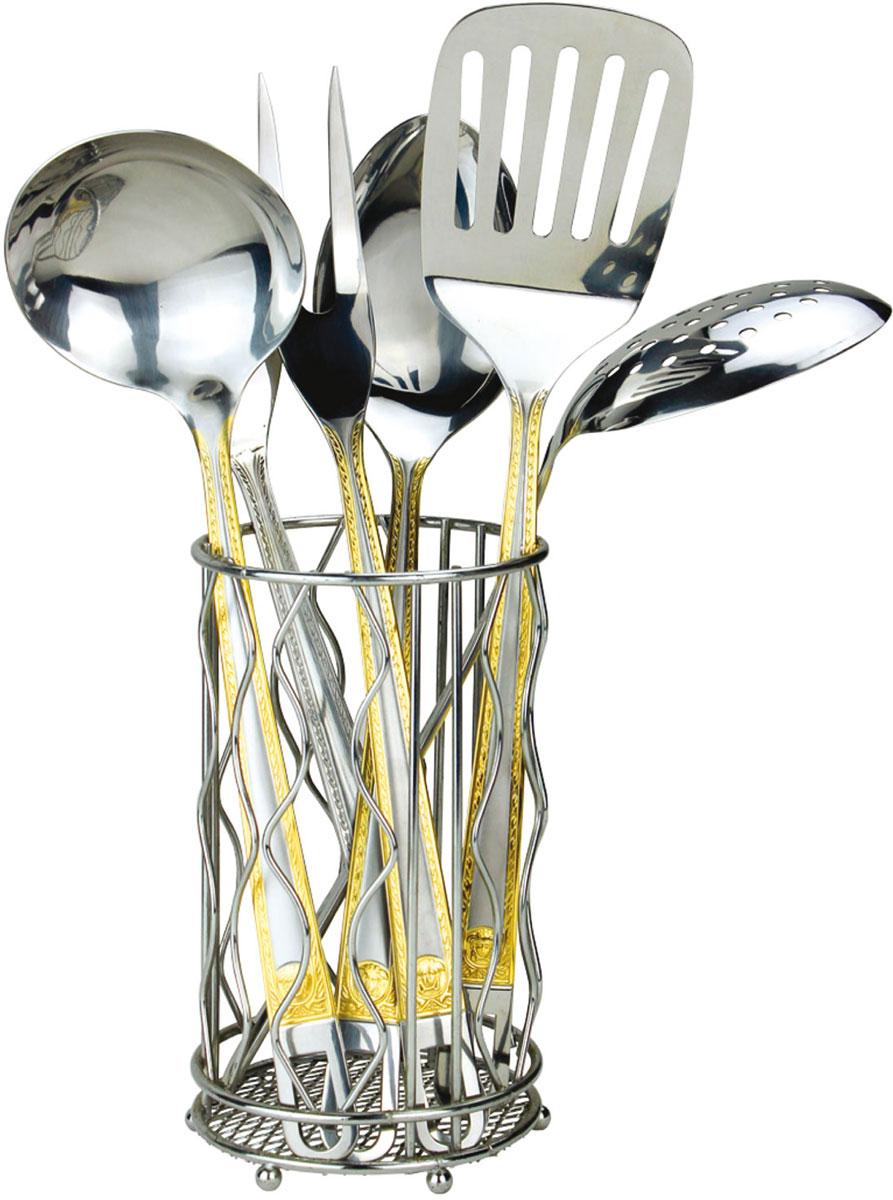 Набор кухонных принадлежностей Rainstahl, цвет: стальной, золотистый, 7 предметов. 8148-07RS\KT8148-07RS\KTНабор кухонных принадлежностей Rainstahl - практичное приобретение для вашей кухни. С ним готовить любимые блюда станет намного проще и удобнее. Набор включает в себя: половник, поварскую ложку, картофелемялку, шумовку, плоскую лопатку, вилку для мяса. Для более удобного хранения предусмотрена специальная подставка из нержавеющей стали. Все элементы выполнены из нержавеющей стали 18/10 высокого качества. Этот набор будет будет хорошим дополнением к любому дизайну. Можно мыть в посудомоечной машине.