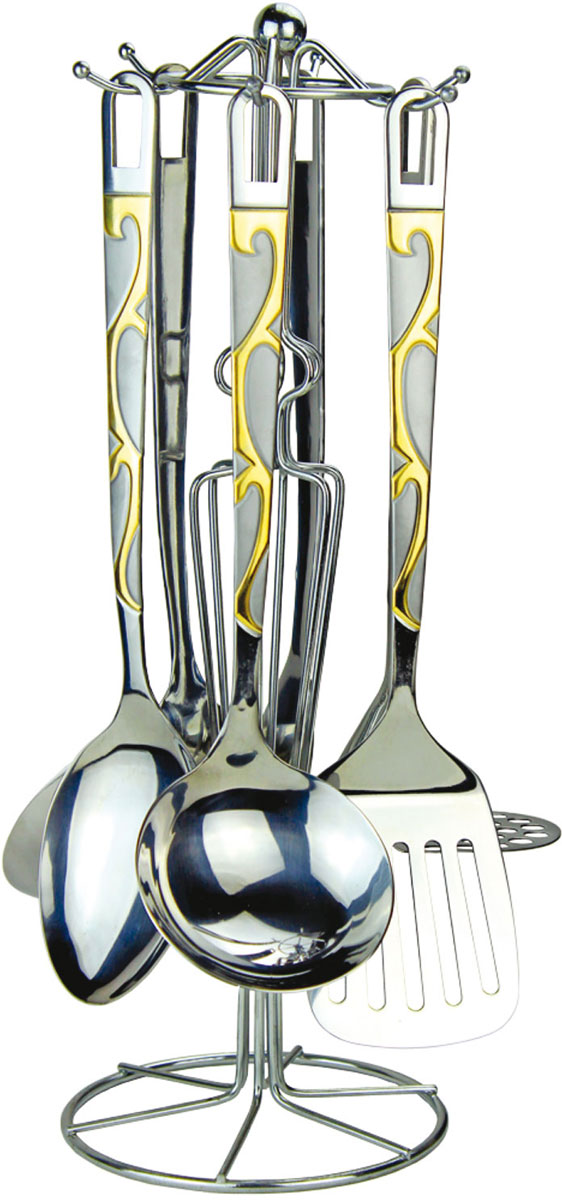 Набор кухонных принадлежностей Rainstahl, цвет: стальной, золотистый, 7 предметов. 8157-07RS\KT8157-07RS\KTНабор кухонных принадлежностей Rainstahl - практичное приобретение длявашей кухни. С ним готовить любимые блюда станет намного проще и удобнее.Набор включает в себя: половник, поварскую ложку, картофелемялку, шумовку,плоскую лопатку, вилку для мяса. Для более удобного хранения предусмотренаспециальная подставка из нержавеющей стали. Все элементы выполнены изнержавеющей стали 18/10 высокого качества. Этот набор будет будет хорошим дополнением к любому дизайну.Можно мыть в посудомоечной машине.