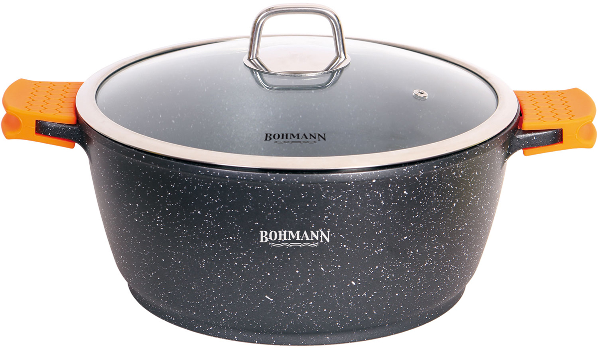 Кастрюля Bohmann с крышкой, с мраморным покрытием, цвет: черный, 3,9 л. 7350-24MRB7350-24MRBКастрюля Bohmann изготовлена из высококачественной литого алюминия. Кастрюля оснащена двумя удобными ручками и крышкой.Крышка, выполненная из термостойкого стекла, позволит вам следитьза процессом приготовления пищи. Она снабжена металлическим ободом иотверстием для выхода пара. Изделие подходит для использования на всех типах плит, включаяиндукционные. Можно мыть в посудомоечной машине.
