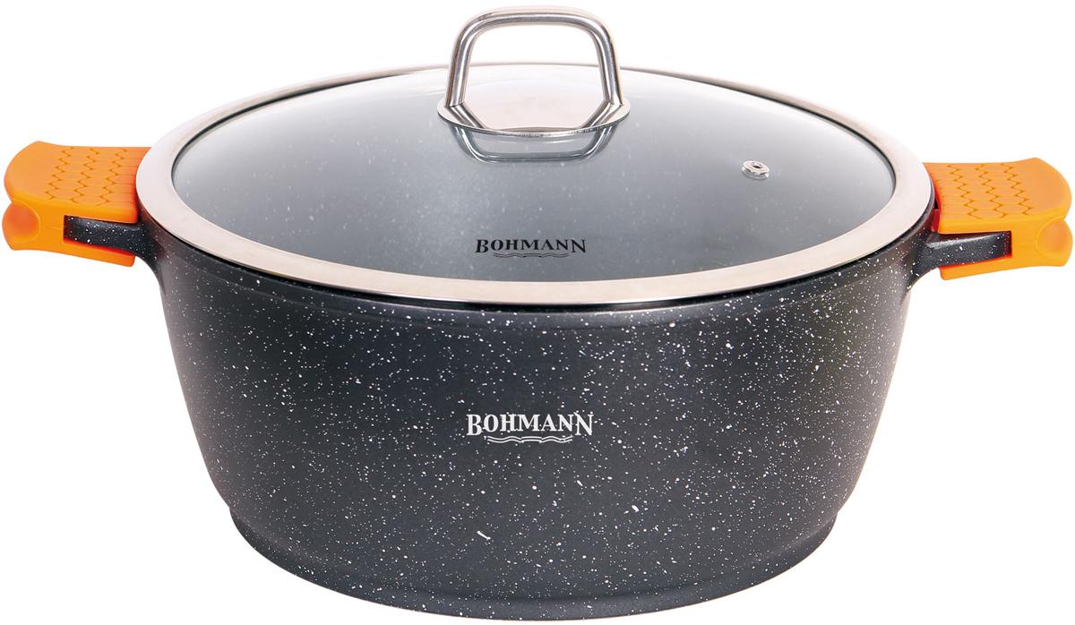 Кастрюля Bohmann с крышкой, с мраморным покрытием, цвет: черный, 5,8 л. 7350-28MRB7350-28MRBКастрюля Bohmann изготовлена из высококачественной литого алюминия. Кастрюля оснащена двумя удобными ручками и крышкой.Крышка, выполненная из термостойкого стекла, позволит вам следитьза процессом приготовления пищи. Она снабжена металлическим ободом иотверстием для выхода пара. Изделие подходит для использования на всех типах плит, включаяиндукционные. Можно мыть в посудомоечной машине.