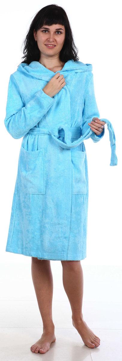 Халат женский Amo La Vita, цвет: бирюзовый. ХМХ0209. Размер 50 слингобусы ti amo мама слингобусы алба