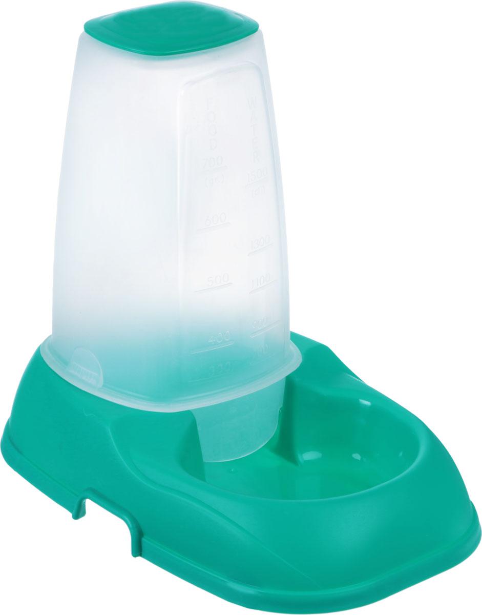Поилка для животных Petro Trade, цвет: зеленый, 1500 млACC#053 GreenПоилка для животных, изготовленная из пластика, не впитывает посторонние запахи. Особенно удобна такая миска, если в доме содержится несколько животных. Специальный прозрачный контейнер большой вместимости позволяет оставить достаточное количество корма на длительное время. Кроме того, в контейнер можно поместить жидкость объемом до 1500 мл.Вместимость контейнера (для твердой пищи): 700 г. Объем контейнера (для жидкости): 1500 мл.Размер миски: 27 см х 18 см х 6 см. Размер контейнера: 12 см х 12 см х 18,5 см.