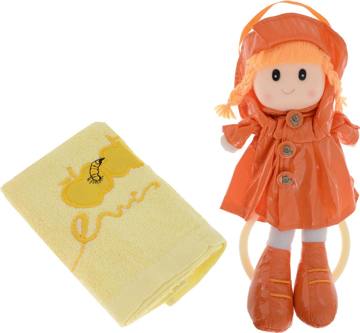 Sima-land Мягкая кукла Аня с держателем и полотенцем цвет оранжевый желтый sima land кукла олеся 495726