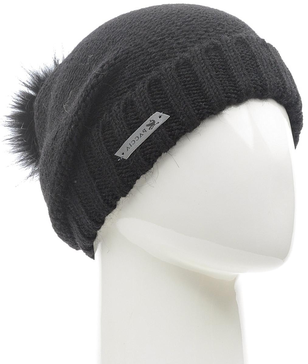 Шапка женская Paccia, цвет: черный. NR-21712-3. Размер 55/58NR-21712-3Стильная женская шапка-бини Paccia выполнена из акрила с добавлением шерсти. Модель дополнена отворотом и меховым помпоном. Эта шапка не только согреет в прохладную погоду, но и стильно дополнит ваш образ.