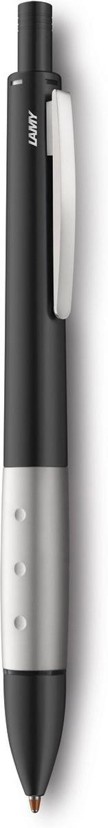 Модель Lamy accent отличается особенным решением секции хвата: ее немного утолщенная и удобная форма действительно является интересным и функциональным дизайнерским акцентом. При производстве используются высококлассные материалы. Металлический корпус черного матового цвета с эргономичным хватом, имеющим покрытие из нетускнеющего палладия. Пружинный клип.  Ручка 4 в одном: шариковые стержни черного, синего и красного цветов, а также автоматический карандаш с грифелем 0,7 мм. Под крышкой кнопки активации пишущей системы находится ластик. Кнопочный механизм подачи пишущего узла. Автоматическая подача нужного стержня согласно цветовой индикации. Сбоку корпуса находится кнопка сброса пишущей системы. Используется со стержнями Lamy M21, грифелями Lamy M40 и ластиком Lamy Z15. Комплектация: подарочный футляр, гарантийная карточка, буклет. Дизайн: Phoenix Product Design История бренда Lamy насчитывает более 80-ти лет, а его философия заключается в слогане Дизайн. Сделано в Германии. Компания получила более 100 самых престижных дизайнерских наград. Все пишущие инструменты Lamy производятся на фабрике в Гейдельберге (Германия).