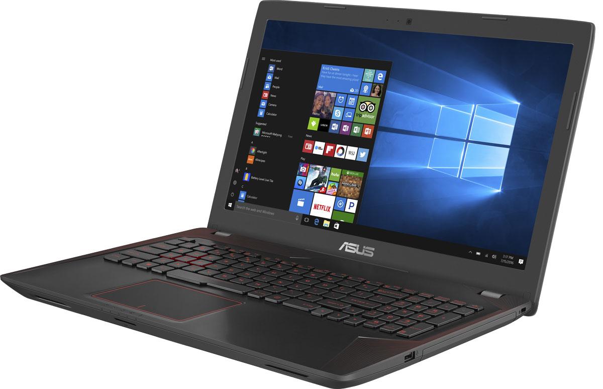 ASUS ROG FX553VD (90NB0DW4-M17730)90NB0DW4-M17730В компактном и легком корпусе ноутбука ASUS FX553 скрывается мощная конфигурация, в которую входят новейший процессор Intel Core седьмого поколения и дискретная видеокарта NVIDIA GeForce GTX 1050. С этим мобильным компьютером на базе операционной системы Windows 10 вы сможете играть и комфортно работать где угодно.Клавиатура ноутбука ASUS FX553 оптимизирована специально для геймеров, поэтому группа клавиш WASD, традиционно используемая для навигации в игре, ярко выделена. Прочная и эргономичная, эта клавиатура оснащается клавишами ножничного типа с оптимальным ходом (2,5 мм) и подсветкой красного цвета. Для удобства игры пробел клавиатуры имеет увеличенную площадь, а клавиши навигации отделены от остальных.В ноутбуке ASUS FX553 реализована высокоэффективная система охлаждения ASUS Cooling Overboost с управляемой скоростью вращения вентиляторов. Она обеспечивает стабильную работу системы при любом уровне загрузки процессора.В ASUS FX553 используется высококачественная 15,6-дюймовая матрица с разрешением Full HD, чье матовое покрытие минимизирует раздражающие блики, а широкие углы обзора являются залогом точной цветопередачи.В ASUS FX553 может быть установлено до 32 гигабайт памяти DDR4, обладающей высокой пропускной способностью и низким энергопотреблением.Компактный разъем USB Type-C имеет специальную конструкцию, которая позволяет подключать USB-кабель к устройству любой стороной.Встроенный массив микрофонов отфильтровывает окружающие шумы, улучшая слышимость голоса во время видеоконференции.Динамики ноутбука расположены так, чтобы полностью раскрыть возможности встроенной аудиосистемы.Точные характеристики зависят от модификации.Ноутбук сертифицирован EAC и имеет русифицированную клавиатуру и Руководство пользователя