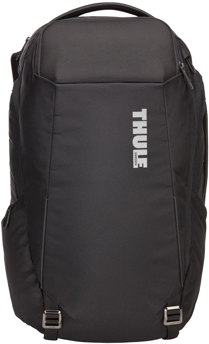 Рюкзак городской Thule Accent Backpack, цвет: черный, 28 л3203624Профессиональный туристический рюкзак с отделением для защиты электронных устройств и универсальным отделением SafeZone для ценных вещей. Особенности:Специальные карманы подходят для MacBook с диагональю 15 дюймов, ноутбуков с диагональю 15,6 дюйма и планшетов с диагональю 10 дюймов. Отделение SafeZone с потайным карманом, расположенным за съемной чашкой с твердым каркасом, поможет защитить телефон, очки и другие ценные вещи. Снаряжение можно хранить во вместительном отделении с боковым доступом, а большой сетчатый карман внутри него отлично подойдет для мелких предметов. Во внутренних карманах небольшие предметы будут в безопасности, а достать их будет очень легко. Специальная панель для надежного крепления сумки к чемодану на колесиках помогает путешествовать с удобством. В сетчатом боковом кармане удобно хранить бутылку с водой, а нужные мелочи не потеряются в регулируемом боковом кармане с молнией. Наплечные ремни EVA с сетчатым покрытием и регулируемый нагрудный ремень обеспечивают комфорт.