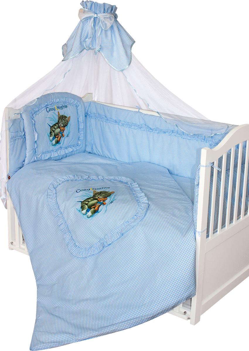 Золотой Гусь Комплект в кроватку Аленка 7 предметов цвет голубой 60 x 120 см1012/7Классический комплект в кроватку с печатным рисунком на изголовье бампера и пододеяльнике. В комплект входит: Балдахин-сетка, одеяло, подушка, простыня, пододеяльник, наволочка, бампер.
