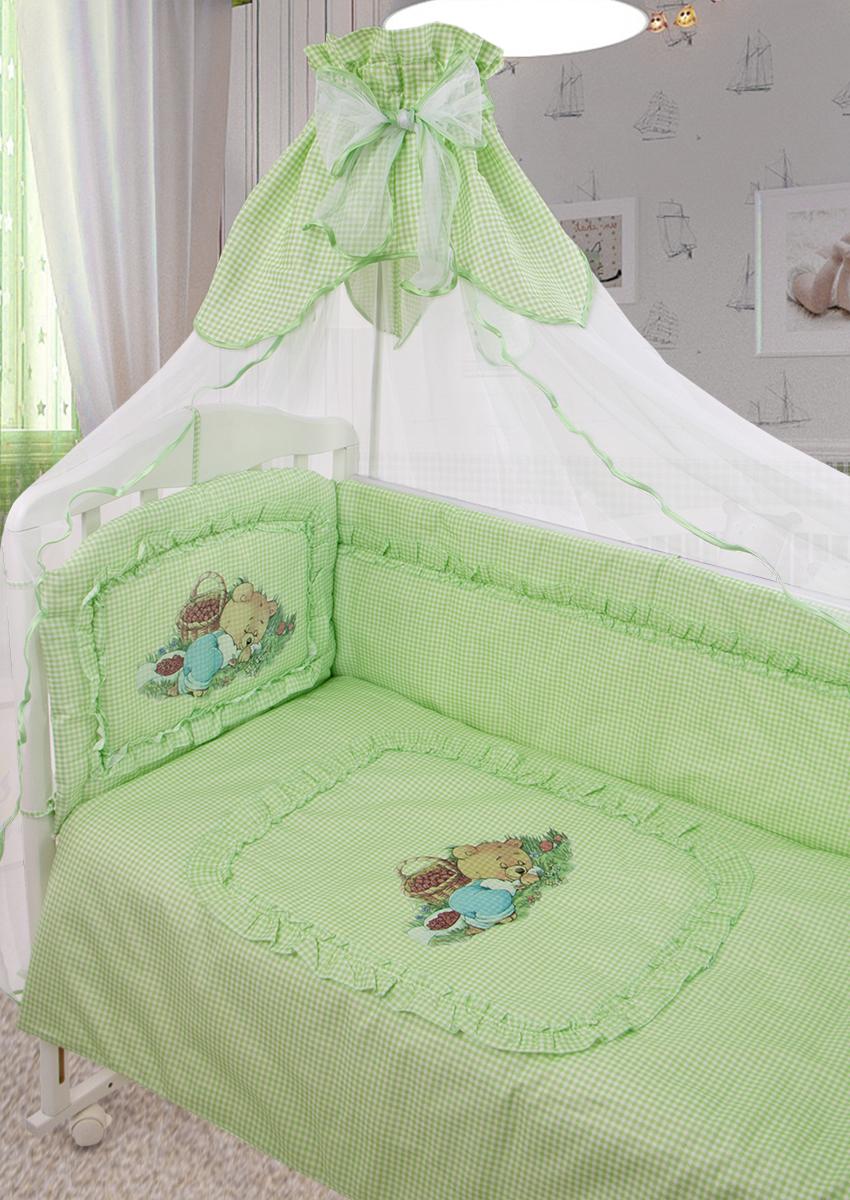 Золотой Гусь Комплект в кроватку Аленка 7 предметов цвет зеленый 60 x 120 см1014/7Классический комплект в кроватку с печатным рисунком на изголовье бампера и пододеяльнике. В комплект входит: Балдахин-сетка, одеяло, подушка, простыня, пододеяльник, наволочка, бампер.