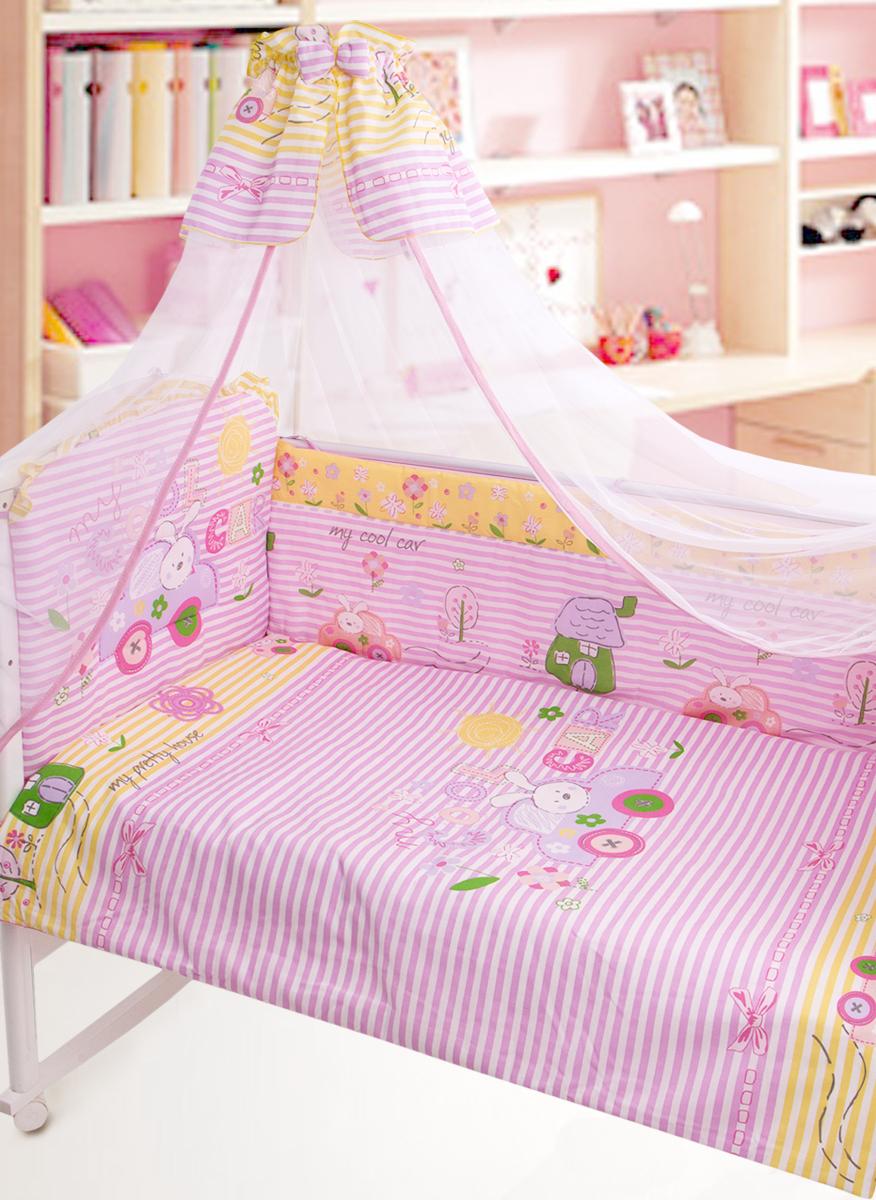 Золотой Гусь Комплект в кроватку Cool Car 7 предметов цвет розовый 60 x 120 см1246Комплект в кроватку с забавным печатным рисунком. В комплект входит: Балдахин -сетка, одеяло, подушка, простыня на резинке, пододеяльник, наволочка, бампер