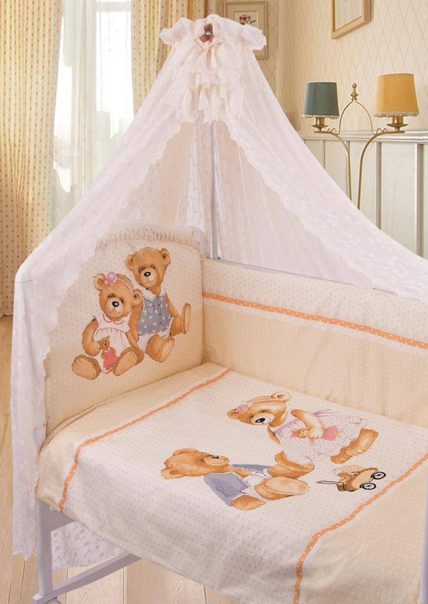 Золотой Гусь Комплект в кроватку Sweety Bear 7 предметов цвет молочный 60 x 120 см1753Коллекция «ВИНТАЖ». Уникальный дизайн комплекта сделает комнату малыша неповторимой. Рисунок на ткани стойкий к машинной стирке, глажению с лицевой стороны изделия и солнечным лучам. В комплект входит: Балдахин-вуаль, одеяло, подушка, простыня на резинке непромокаемая, пододеяльник на молнии, наволочка, бампер на молнии.