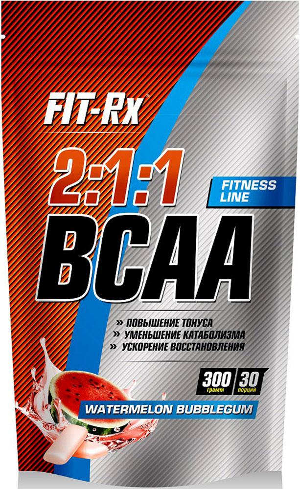 """Сухой концентрат напитка FIT-Rx """"BCAA 2:1:1"""" представляет собой комплекс из трех незаменимых аминокислот в свободной форме: L-лейцина, L-валина и L-  изолейцина, которые необходимо включать в диету. BCAA увеличивает синтез белков и подавляет распад мышечных клеток. Эти аминокислоты легко   окисляются во время тренировки, поэтому добавление BCAA к обычному рациону может играть значительную роль в регулировании массы тела и сохранении   мышечной массы. Комплекс с соотношением лейцина к изолейцину и валину 2:1:1 является самым оптимальным и эффективным с научной точки зрения. Именно   эта пропорция является краеугольной для увеличения энергетических резервов, снижения усталости и расщепления жиров.Состав: L-лейцин, L-валин, L-изолейцин, глюкоза, фруктоза, лимонная кислота, вкусоароматическая добавка """"Арбуз"""", краситель сок свеклы, эмульгатор   лецитин, подсластитель """"Сладин"""", подсластитель """"Сукралоза"""".Пищевая ценность на 1 порцию (10 г): аминокислоты 6 г, жиры 0,2 г, углеводы 2,5 г, пищевые волокна 0,5 г.Энергетическая ценность одной порции: 28 ккал.Рекомендации по применению: 1 чайная ложка с горкой (10 г) растворить в 150-200 мл воды комнатной температуры, принимать за 15-20 минут перед   физической нагрузкой.Товар сертифицирован.  Как повысить эффективность тренировок с помощью спортивного питания? Статья OZON Гид"""