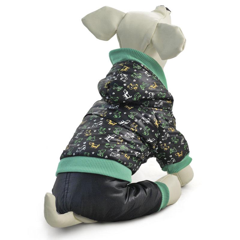 """Комбинезон для собак Triol """"Собачки"""", утепленный, унисекс, цвет: черный. Размер S"""