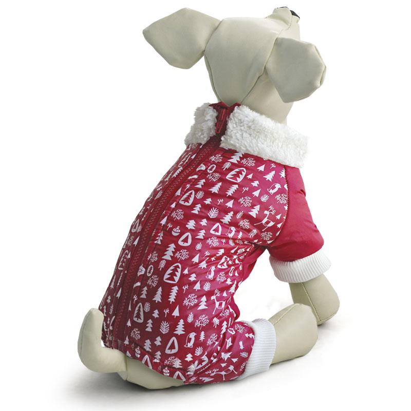 """Комбинезон для собак Triol """"Елочки"""", утепленный, унисекс, цвет: красный. Размер S"""