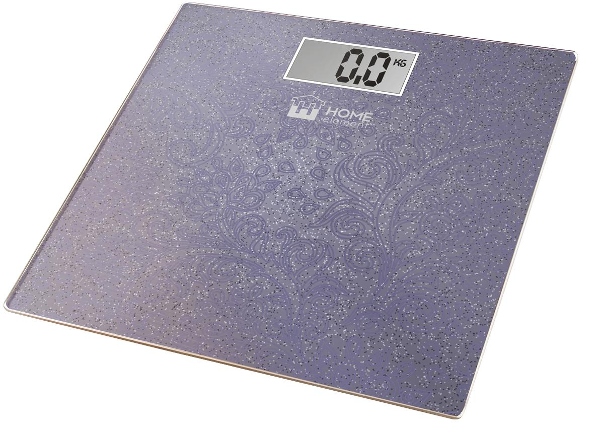 Home Element HE-SC904, Violet весы напольныеHE-SC904Стекло с переливом/блестящее LСD дисплей автовыключение цена деления 100г max нагрузка 180кг