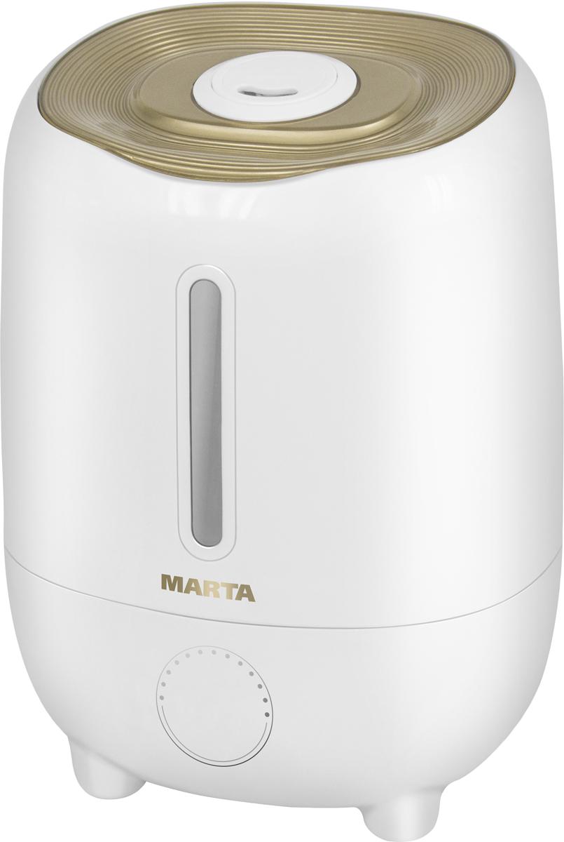 Marta MT-2685, Light Amber увлажнитель воздухаMT-2685Увлажнитель воздуха MT-2685 бесшумно нормализует уровень влажности в помещении до идеального уровня. Вы почувствуете разницу очень скоро, ведь от уровня влажности зависит и степень вашей работоспособности, и качество отдыха.Три режима интенсивности увлажнения позволяют создавать необходимый именно вам микроклимат, как дома, так и в офисе. MT-2685 оснащен вместительным резервуаром. При расходе воды всего 240 мл/ч, такой объем позволяет поддерживать комфортные условия в жилом помещении на протяжении суток.Удобное и простое управление осуществляется при помощи сенсорной панели со светодиодной индикацией. Кроме того, вы можете использовать картридж арома-фильтра для насыщения воздуха вашим любимым ароматом.