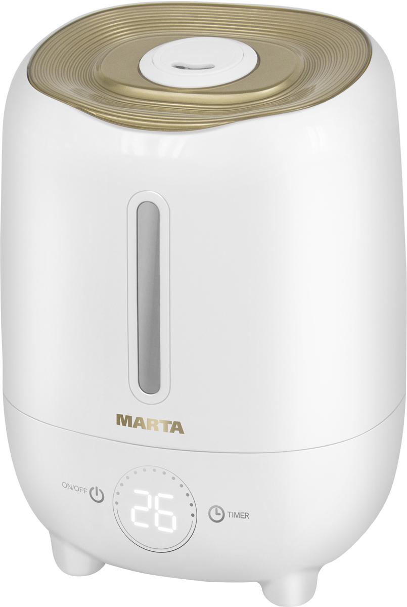 Marta MT-2686, Light Amber увлажнитель воздухаMT-2686Увлажнитель воздуха MT-2686 бесшумно нормализует уровень влажности в помещении до идеального уровня. Вы почувствуете разницу очень скоро, ведь от уровня влажности зависит и степень вашей работоспособности, и качество отдыха.Три режима интенсивности увлажнения позволяют создавать необходимый именно вам микроклимат, как дома, так и в офисе. MT-2686 оснащен вместительным резервуаром. При расходе воды всего 240 мл/ч, такой объем позволяет поддерживать комфортные условия в жилом помещении на протяжении суток.Удобное и простое управление осуществляется при помощи сенсорной панели со светодиодной индикацией. Имеется яркий и информативный LED-дисплей для отображения текущего состояния прибора. Кроме того, вы можете использовать картридж арома-фильтра для насыщения воздуха вашим любимым ароматом.