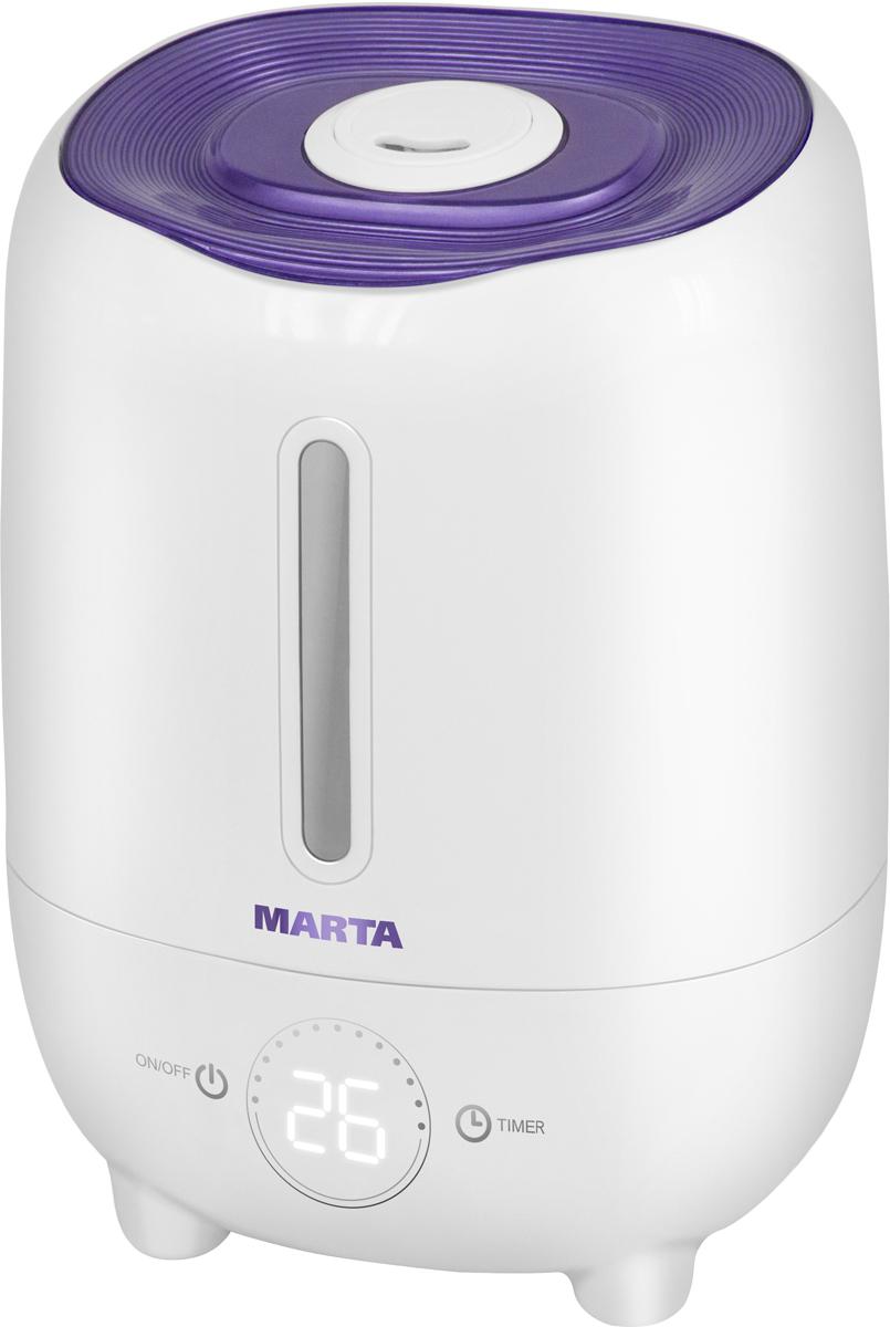 Marta MT-2686, Purple Charoite увлажнитель воздухаMT-2686Увлажнитель воздуха MT-2686 бесшумно нормализует уровень влажности в помещении до идеального уровня. Вы почувствуете разницу очень скоро, ведь от уровня влажности зависит и степень вашей работоспособности, и качество отдыха.Три режима интенсивности увлажнения позволяют создавать необходимый именно вам микроклимат, как дома, так и в офисе. MT-2686 оснащен вместительным резервуаром. При расходе воды всего 240 мл/ч, такой объем позволяет поддерживать комфортные условия в жилом помещении на протяжении суток.Удобное и простое управление осуществляется при помощи сенсорной панели со светодиодной индикацией. Имеется яркий и информативный LED-дисплей для отображения текущего состояния прибора. Кроме того, вы можете использовать картридж арома-фильтра для насыщения воздуха вашим любимым ароматом.